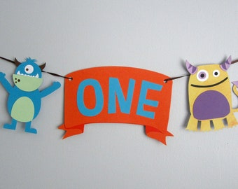 Monster theme banner, party monsters, little monsters, highchair banner, baby's 1st birthday, the big one