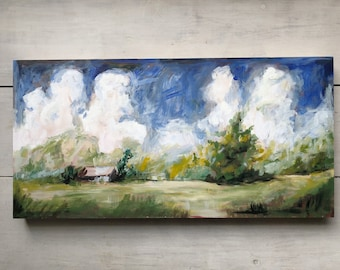 "Original Painting, Acrylic on Wood ""Pop's Field no. 1"" 12x24"