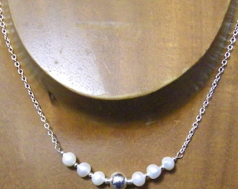 Sterling Silver Natural Cultured Pearl Gemstone Necklace...Handmade USA