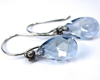 Crystal Blue Shade Teardrop Swarovski Crystal AB Earrings, New Swarovski Color for Fall 2012