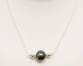 Sterling Silver Tahitian Pearl Necklace, Tahitian Pearl, Black Pearl, Genuine Tahitian Pearl, Natural Pearl, Unique, One of a Kind, Gift