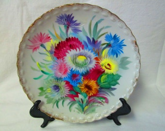 """Stunning Fine bone china Plate Vibrant Colored Flowers Ucago Japan Mid Century Wall Hanging Collectible Hand Painted Plate 8"""" across"""