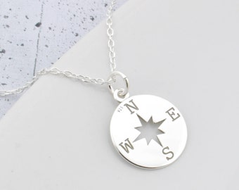 Sterling Silver Compass Necklace, Compass Pendant, Compass Necklace, compass Chain, Silver Compass, Compas, boho, bohemian, engraved compass
