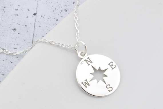 Sterling silver compass necklace compass pendant compass aloadofball Image collections