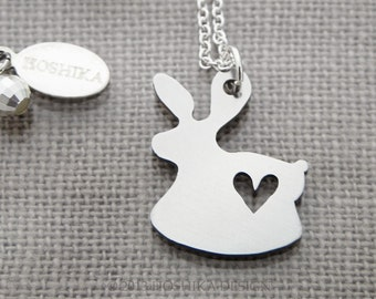 Mini Rabbit with Heart Necklace