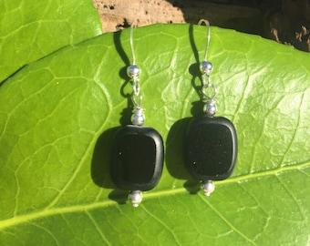 Sterling Silver Earrings, Black Earring, Black Square Earring, Sterling Silver, Dangle Earrings