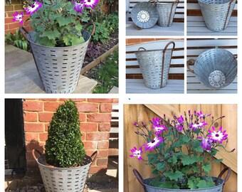 Rustic French Metal Olive Basket, Metal Planter, Garden Planter, Patio Planter, Log Basket, Decorative
