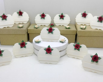 Place cards. Place settings. 75 cream easel style place cards/place settings with roses. Weddings. Anniversaries. Birthdays. Dinner parties.