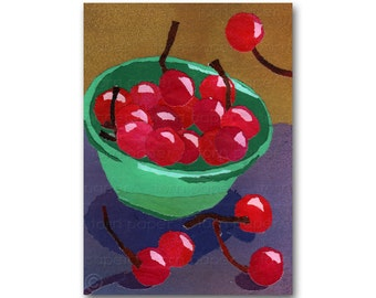 """A Bowl Full of Cherries - NOSTALGIA CARD - 5""""x7"""" Collage Art Card - Share the Memories Collection - Vintage Art Card (CMEM2013051)"""