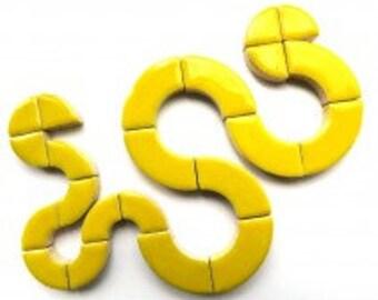 Citrus Lemon Yellow Curved Glazed Ceramic BULLSEYE Mosaic Pieces (3 sizes in mix)Mosaic Tiles//Mosaic Supplies//Craft Supplies
