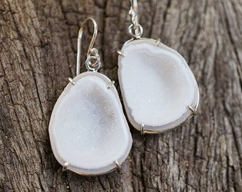 White Druzy Geode Earrings in Sterling Silver (one-of-a-kind!)