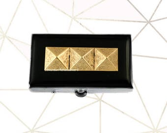 Studded Metal Pill Box Inlaid in Hand Painted Enamel Geometric Inspired Pill Case with Personalized and Color Options