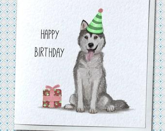 Happy Birthday/Thank You Siberian Husky Greetings Card
