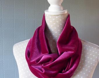 Pink velvet snood, pink velvet cowl, pink velvet loop scarf