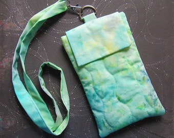 Mermaid Watercolor iPhone Neck Pouch Lanyard Batik Boho Beach Ocean Fabric Cell Phone iPod