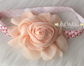 Red Poppy,Glam Peach Blush Pink Baby Girl Headband,Bohemian Floral Princess,Birthday Photography Prop,Glam,Chiffon Roses,Adjustable Headband