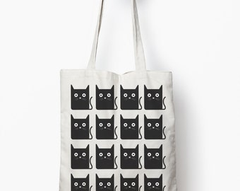 Cat bag, black cat shopping bag, canvas tote bag, cat gift bag