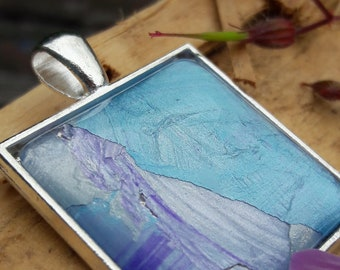 Original abstract art pendant necklace with silver plated chain  (No 1)