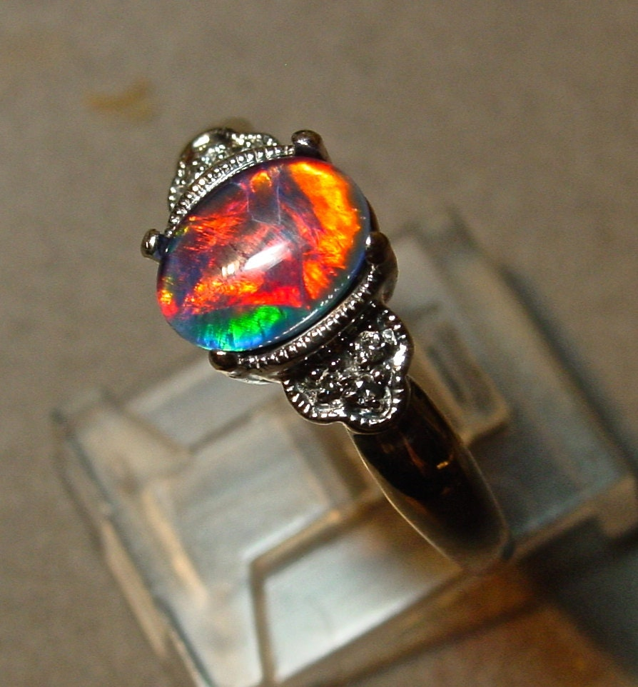 silver opals on dark pinterest gems black rings vintage genuine images australian with style engagement best gemstones custom opal optional diamonds ring and