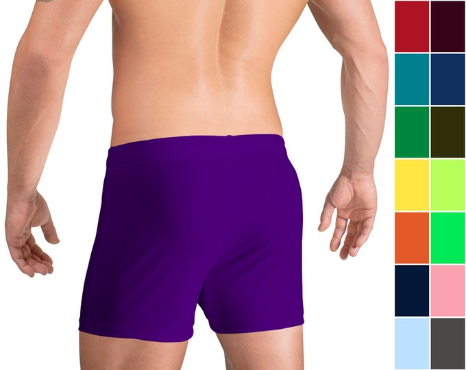Men's Swim Boxers in 21 Solid Colors by Vuthy Sim