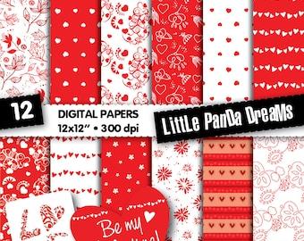 Valentine Hearts Digital Papers | Love Red Digital Scrapbook Paper Pack | Design paper | Instant Download | 12 Digital papers + 4 love tags
