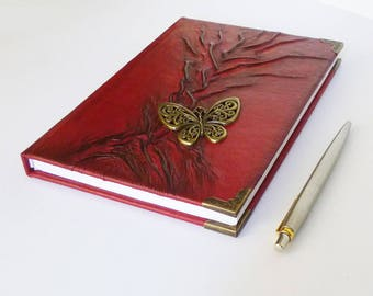 Writing Journal, Red Diary, Leather Notebook A5, Tree of Life, Coffee Time, Butterfly, Graduation Gift Women, Girl, Your Story, Leather Art