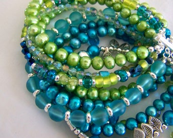 MULTI STRAND BRACELET ... turquoise and lime green