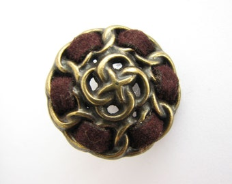 """Large metal buttons with thread detail, old gold and brown buttons for blazers, 23 mm - 7/8"""", new"""