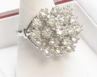 Vintage 1980's 18K White Gold Plate Crystal Cocktail Ring Gift For Her Size 7 on Esty