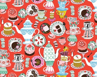 Wonderland Fabric A Mad Tea Party for The Queen with Cookies Cakes Chocolate on Red by Blend