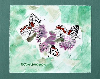 Flower and Butterflies Monotype Hand Pulled Print By Cori Solomon