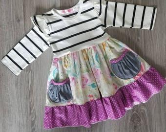 Girls Easter dress, girls spring dress, girls floral dress, girls boutique dress,  girls purple dress,