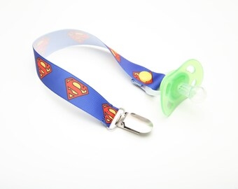 Geek Baby SUPERMAN Clip for Dummy Pacifier