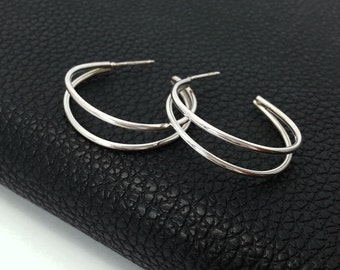 Modern Silver Double Hoop Earrings, Sterling Silver Hoop Earrings, Medium Hoop Earrings, Everyday Earrings-Casual Earrings For Women