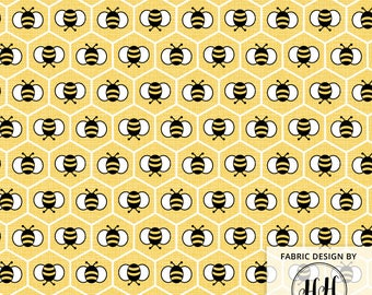 Bee Fabric By The Yard / Bumblebee Fabric / Honeycomb Fabric / Yellow Cheery Whimsical Springtime Fabric Print in Yard & Fat Quarter