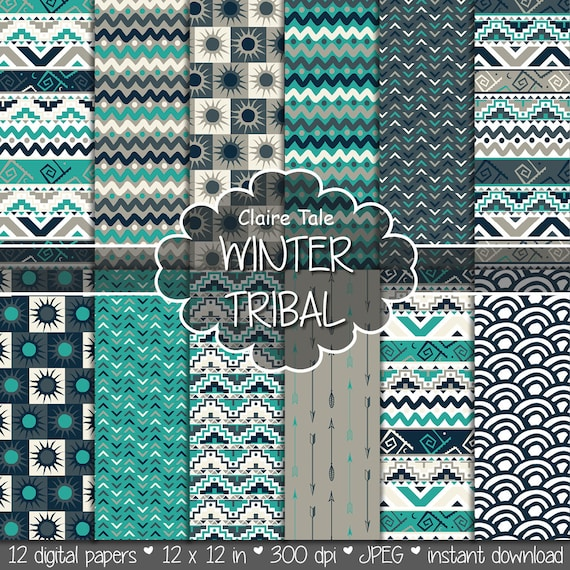 "Tribal digital paper: ""WINTER TRIBAL"" with tribal patterns and tribal backgrounds, arrows, feathers, leaves, chevrons in turquoise and beige"