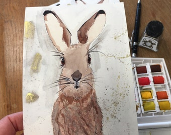 Hares Looking at Ya! Pack of 4 Art cards with envelopes A6