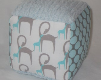 Blue and Gray Giraffes Fabric Boutique Block Rattle Toy - SALE