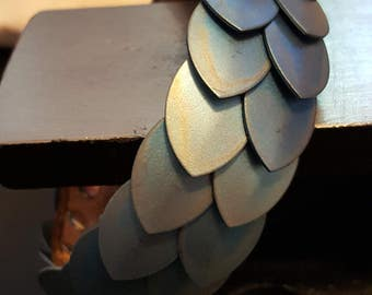 Acid stained and mirror scalemail leather bracelet