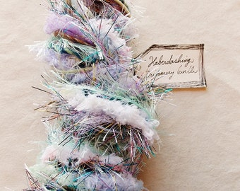 Winken Blinken lavender white aqua pastel mix trim glitter tinsel striped twine Novelty Fiber Yarn Sampler Bundle