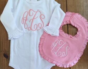 Personalized Baby Girl Ruffle Onesie, bib, bloomer and burp cloth!
