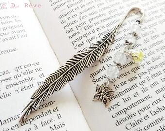 Marque-pages argenté livres plume, perles craquelées transparentes blanches, jaune, fleurs, aile, papillon, fantaisie