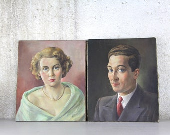 Pair of Vintage French Oil Portrait Paintings, The Happy Young Couple 1950s.  Signed by Artist