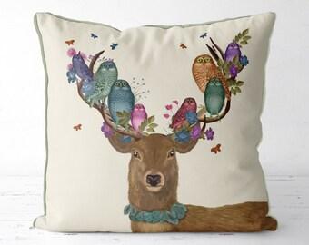 Deer cushion owl gifts - Deer & owl cushion  owl pillow woodland decor Woodland nursery pillow nursery decor Spring home decor spring pillow
