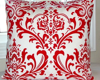 Decorative pillow designer pillow throw pillow Red Damask cushion cover 18 inches,