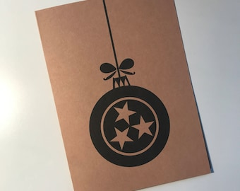 ClemmieLouCards -Tree Ornament TENNESSEE 3 Stars - Christmas/Holiday card