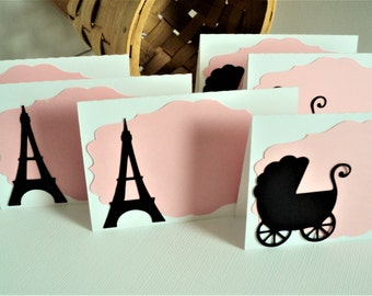 Paris Baby Shower Food Label or Place Cards, Set of 12, Eiffel Tower Cards