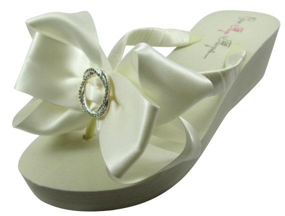 Ivory Flip Bride Rhinestone bridesmaids shower Bridal flower Bow Bling gift Flops Wedge Wedding Platform Satin White Flat Flops Flip heel Owx4XqBE