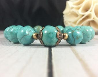Unconditional love mala bracelet/chunky mala bracelet/meditation bracelet/turquoise magnesite mala bracelet/prayer bead bracelet/love beads