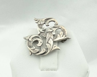 "Vintage Initial ""S"" Decorative Sterling Silver CINI Brooch/Pin Circa 1940's  #CINI-BR1"